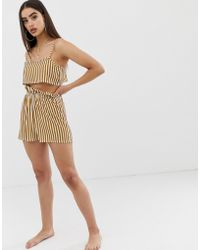 PrettyLittleThing - Beach Shorts Co-ord With Gathered Waist In Mustard Stripe - Lyst