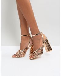 Lost Ink - Rose Gold Block Heeled Strappy Sandals - Lyst