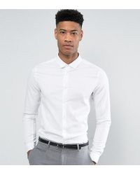 ASOS | Tall Skinny Smart Twill Shirt In White | Lyst