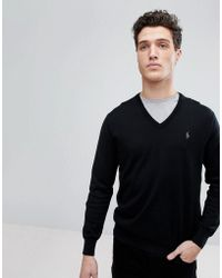 Polo Ralph Lauren - Pima Cotton Knit Jumper V-neck Polo Player In Black - Lyst