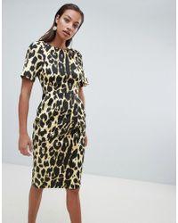 ASOS - wiggle Midi Dress In Leopard Print - Lyst