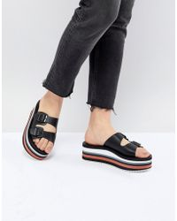 Pull&Bear - Flatform Double Buckle Sandal In Color Block - Lyst