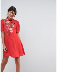 3ac9ddcf010 ASOS Asos Ruffle One Shoulder Cocktail Mini Dress in Red - Lyst