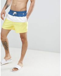 Abercrombie & Fitch - 5 Inch Colour Block Swim Shorts In Blue/white/yellow - Lyst