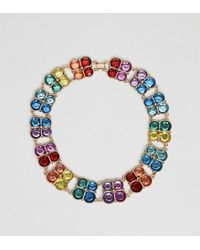 ASOS - Asos Design Curve Exclusive Statement Necklace With Multicolour Jewels In Gold - Lyst