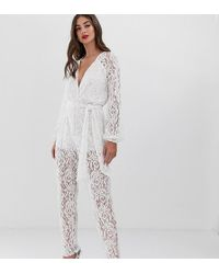 John Zack - All Over Lace Jumpsuit In White - Lyst