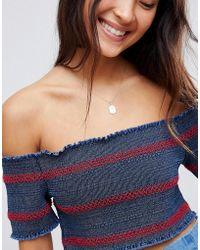 ASOS - Denim Bardot Shirred Crop Top - Lyst