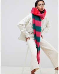 ASOS Bright Stripe Fluffy Long Scarf With Tassels - Red