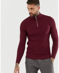 ASOS - Muslce Fit Waffle Textured Sweater In Burgundy - Lyst