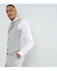ASOS - Asos Tall Slim Suit Waistcoat In 100% Wool Harris Tweed Herringbone In Light Grey - Lyst
