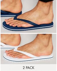 ASOS - Flip Flops 2 Pack In Navy And White Save 20% - Lyst