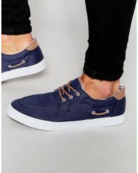 ASOS - Boat Shoes In Navy Canvas - Lyst