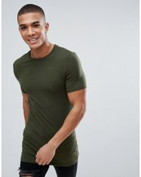 ASOS DESIGN - Asos Longline Muscle Fit T-shirt With Crew Neck In Green - Lyst