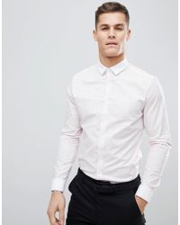 ASOS - Smart Stretch Slim Stripe Shirt With Contrast Collar And Double Cuffs - Lyst