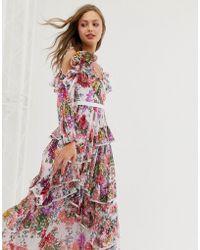 Needle & Thread - Vestito lungo a fiori con spalle scoperte e volant - Lyst