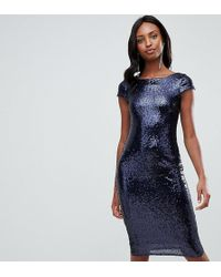 TFNC London - Sequin Cap Sleeve Midi Dress With Open Back In Navy - Lyst