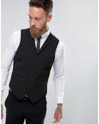 ASOS - Super Skinny Waistcoat In Black - Lyst