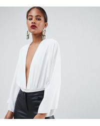 ASOS - Asos Design Tall Body With Plunge And Full Sleeve Detail - Lyst
