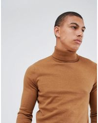 New Look - Roll Neck Jumper In Camel - Lyst