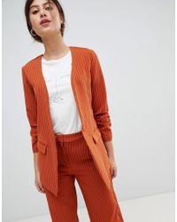 Vila Pin Stripe Ruche Sleeve Tailored Jacket - Orange