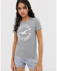 Hollister T-shirt With Classic Logo In Stripe - Gray