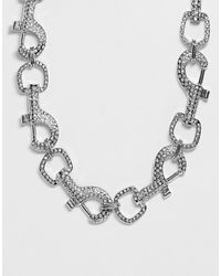 ASOS - Necklace In Crystal Hardware Clip Design In Silver Tone - Lyst