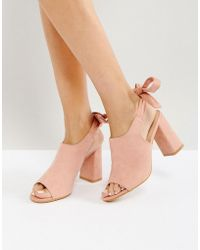 Glamorous - Tie Back Mid Heeled Mules - Lyst