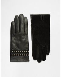 French Connection - Studded Leather Gloves - Black - Lyst