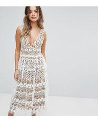 fd3dd28883b7 Boohoo Lace Pleated Cold Shoulder Dress in Black - Lyst