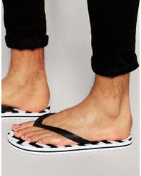 ASOS - Flip Flops With Black And White Print - Lyst