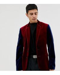 Collusion - Velvet Blazer In Burgundy With Contrast Sleeves - Lyst