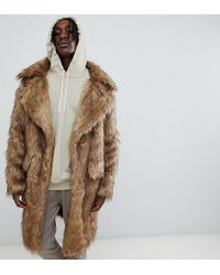 The New County - Heavyweight Faux Fur Coat In Natural - Lyst