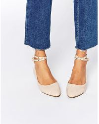 Daisy Street - Nude Studded Ankle Strap Ballet Flat Shoes - Lyst