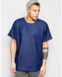 WÅVEN - Denim T-shirt Magnus Crew Neck Torkel Blue Dark Wash - Lyst