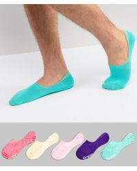 ASOS - Invisible Socks In Bright Colours & Branded Soles 5 Pack - Lyst