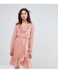 Y.A.S - Spot Ruffle Wrap Midi Dress In Pink - Lyst
