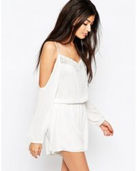 fc294c212f5 Wyldr - Soul Romper With Cold Shoulder And Lace Detail - Lyst