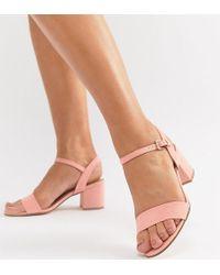 London Rebel - Wide Fit Mid Block Heeled Sandals - Lyst