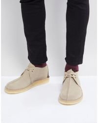 Clarks - Desert Trek Suede Shoes In Stone - Lyst