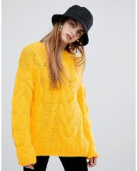 Bershka - Oversized Cable Jumper In Yellow - Lyst