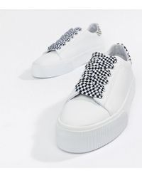 Pull&Bear - Check Lace Up Flatform Sneaker In White - Lyst