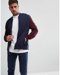 ASOS - Jersey Bomber Jacket With Contrast Sleeves And Ma1 Pocket In Navy - Lyst