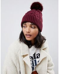 eff4ce910c3 ASOS - Cable Faux Fur Pom Beanie In Recycled Polyester - Lyst