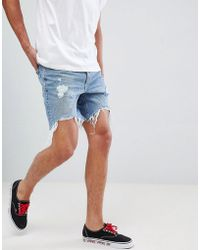 Bershka - Slim Fit Denim Shorts In Mid Blue With Rips - Lyst