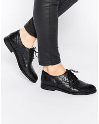 Bronx - Leather Lace Up Flat Shoes - Lyst