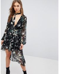 Bershka - Floral Asymmetric Floaty Dress - Lyst