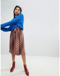 Mango - Wide Pleated Tie Detail Skirt - Lyst