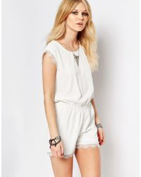 Noisy May Petite - Lace Trim Playsuit - Lyst