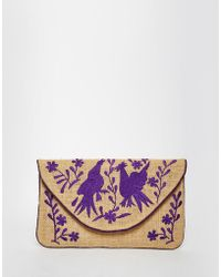 Moyna - Jute Clutch With Purple Embroidery - Lyst