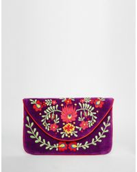 Moyna - Velvet Envelope Clutch Bag With Embroidery - Lyst